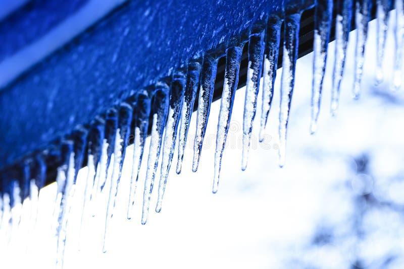 Предпосылка зимы с кристаллическими сосульками и понижаясь сияющими падениями Сосулька на красивой яркой текстуре стоковые фотографии rf