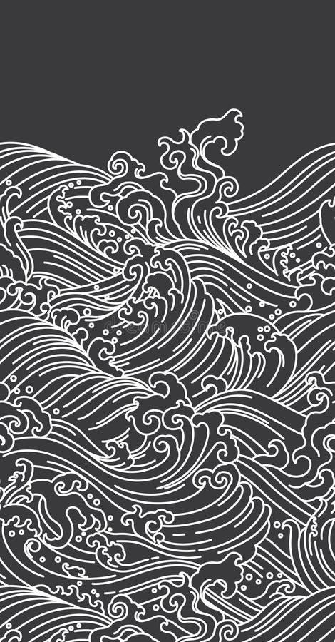 Восточные обои волны воды безшовные Японский Китаец Тайский иллюстрация вектора