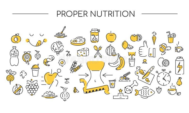 Предпосылка значка линейная Правильное питание Здоровые установленные значки Цвета текстуры 2 образа жизни бесплатная иллюстрация