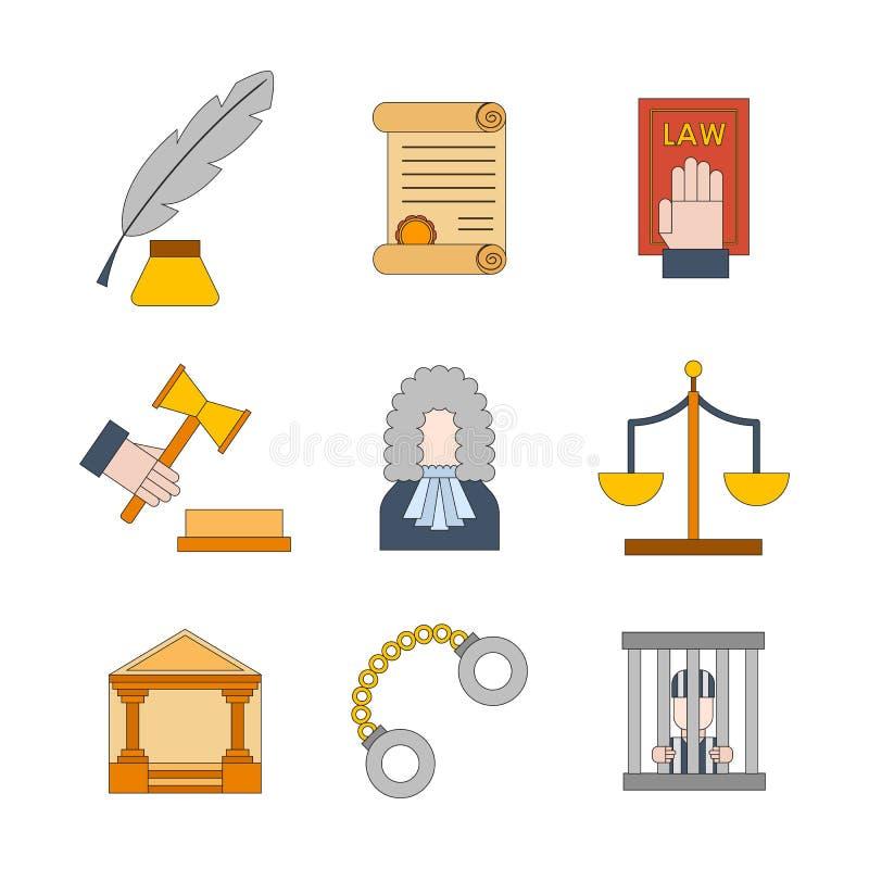 Предпосылка значков правосудия закона шаржа вектора плоская иллюстрация вектора