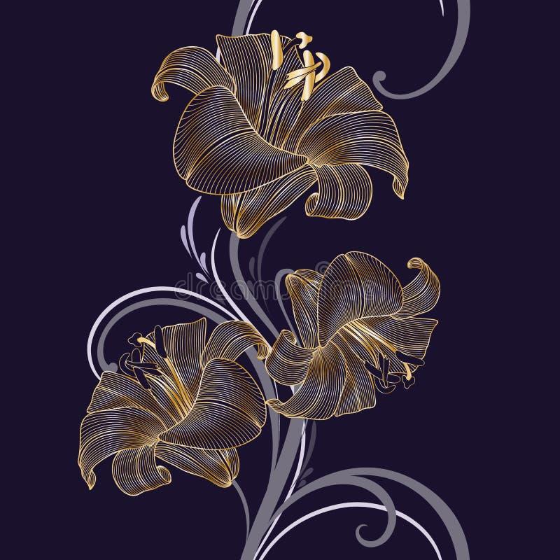 Предпосылка золотого безшовного рук-чертежа флористическая с лилией цветка стоковое изображение rf