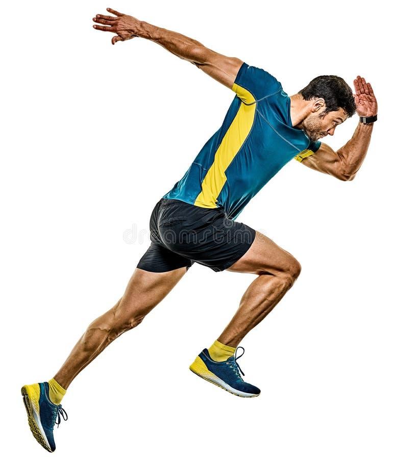 Предпосылка зрелого бегуна хода человека jogging изолированная jogger белая стоковое фото