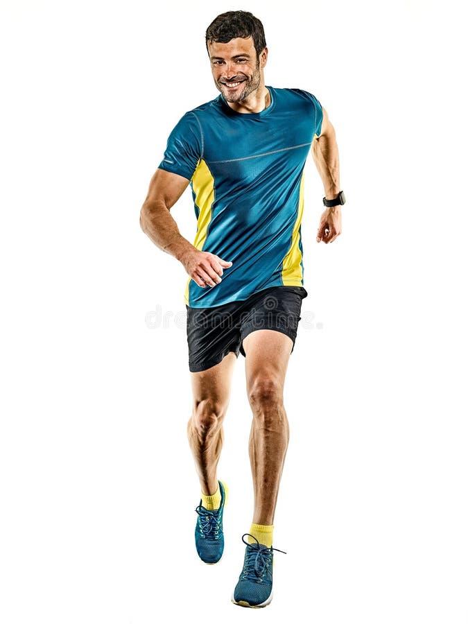Предпосылка зрелого бегуна хода человека jogging изолированная jogger белая стоковые изображения