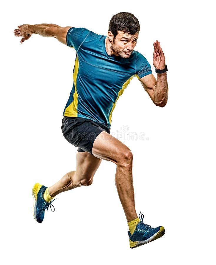 Предпосылка зрелого бегуна хода человека jogging изолированная jogger белая стоковое изображение
