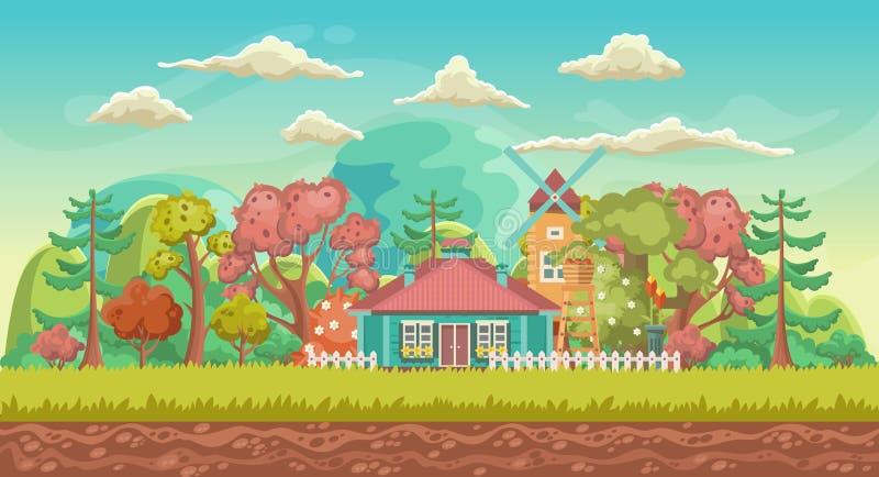 Предпосылка игры вектора Ориентация ландшафта Панорама с милой деревней бесплатная иллюстрация