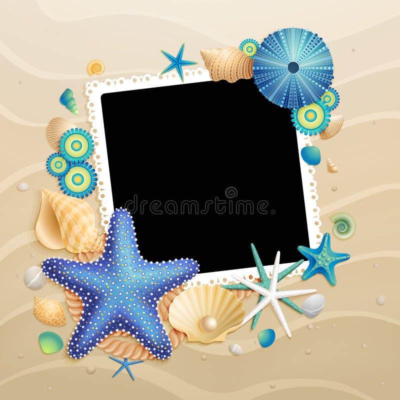 предпосылка изображает starfishes раковин песка бесплатная иллюстрация