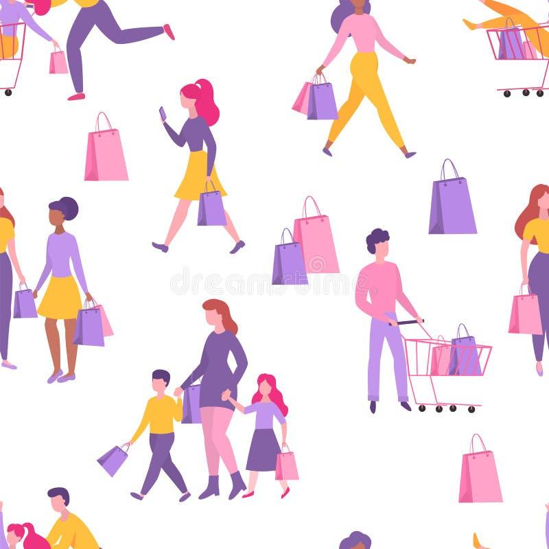предпосылка изолированная над белизной покупкы людей картина безшовная Счастливые люди с хозяйственными сумками и тележкой Плоски иллюстрация вектора