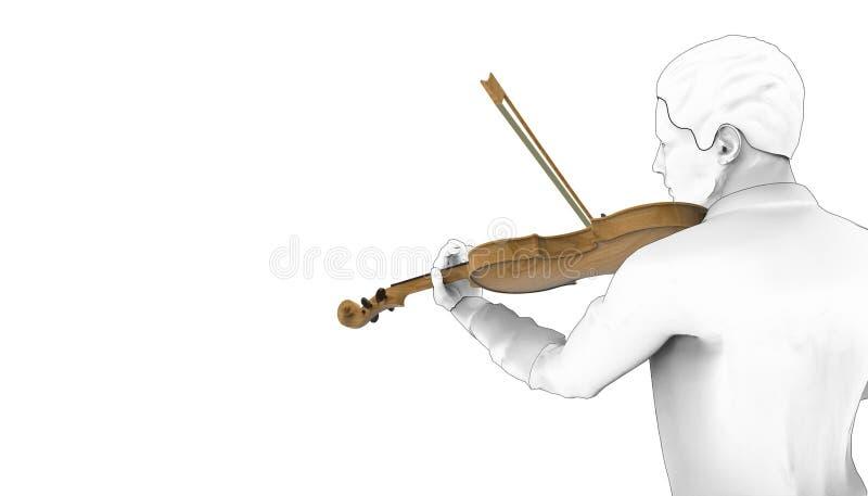 Предпосылка изолята музыкальных инструментов 02 скрипки игры чертежа/иллюстрация бесплатная иллюстрация