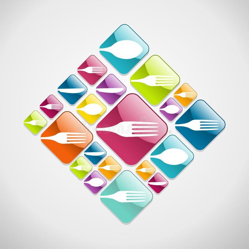Предпосылка икон сети Cutlery стекловидная иллюстрация штока