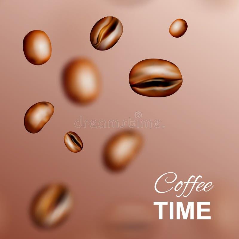 Предпосылка или картина летая вектора 3d кофейных зерен иллюстрация вектора