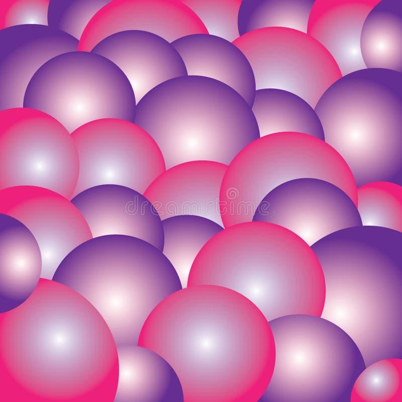 Предпосылка иллюстрации розовых и фиолетовых пузырей красочная геометрическая иллюстрация вектора