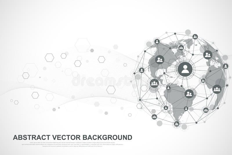 Предпосылка интернет-связи, абстрактное чувство графического дизайна науки и техники Соединение глобальной вычислительной сети бесплатная иллюстрация