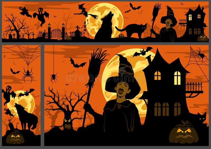 Предпосылка и знамена хеллоуина иллюстрация вектора