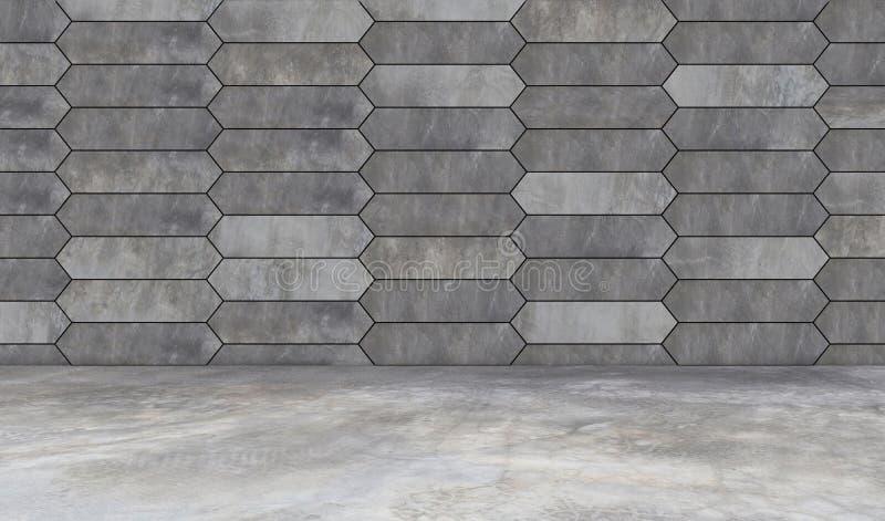 Предпосылка и пол серой стены шестиугольника grunge конкретная иллюстрация штока