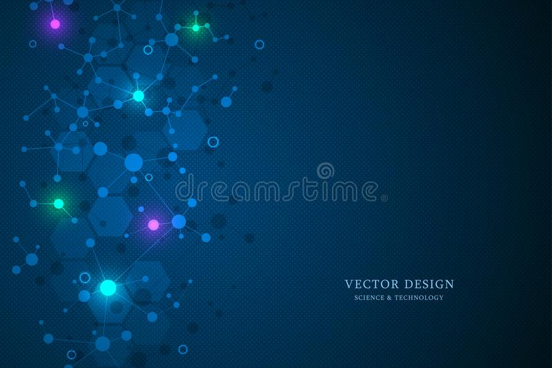 Предпосылка и связь молекулярной структуры Абстрактная предпосылка от дна молекулы Медицинский, наука и цифровой технология c бесплатная иллюстрация