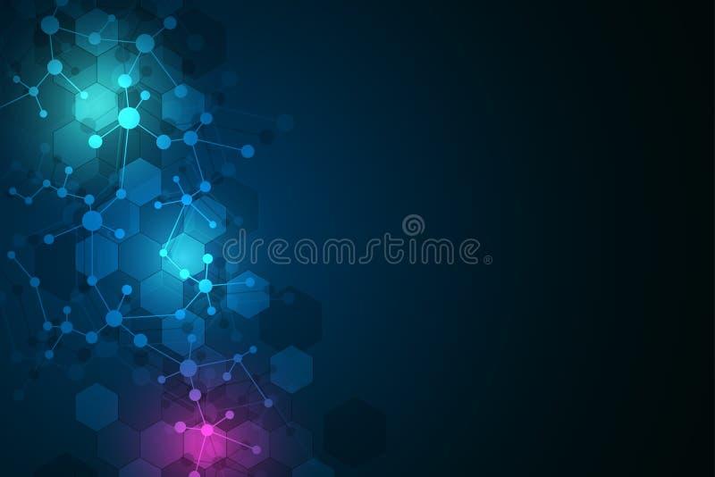 Предпосылка и связь молекулярной структуры Абстрактная предпосылка от дна молекулы Медицинский, наука и цифровой технология c иллюстрация штока