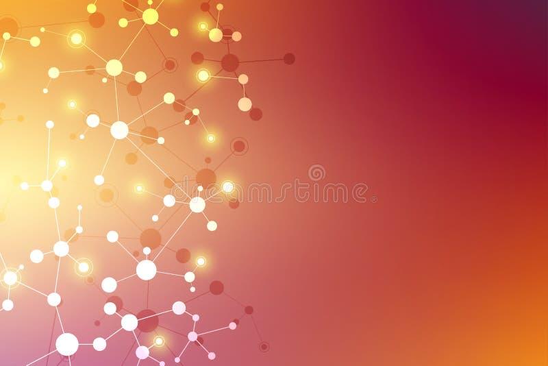 Предпосылка и связь молекулярной структуры Абстрактная предпосылка с дна молекулы Медицинский, наука и цифровой бесплатная иллюстрация