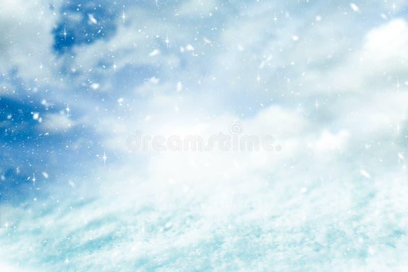 Предпосылка и снежности зимы с концепцией яркого блеска С Рождеством Христовым и счастливый фон Нового Года стоковая фотография