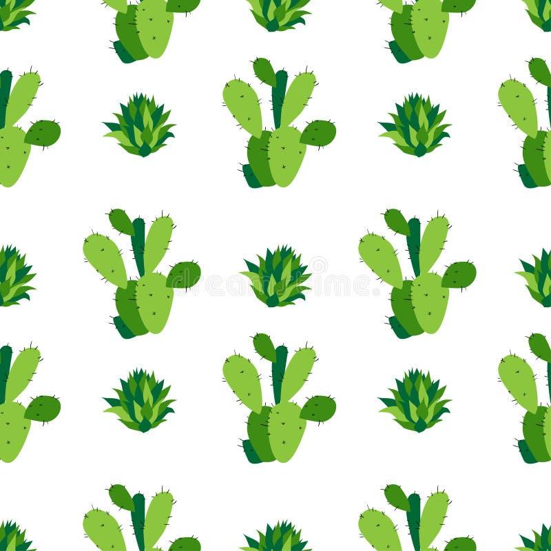 Предпосылка кактуса, vector безшовная картина, изолированная на белизне иллюстрация вектора