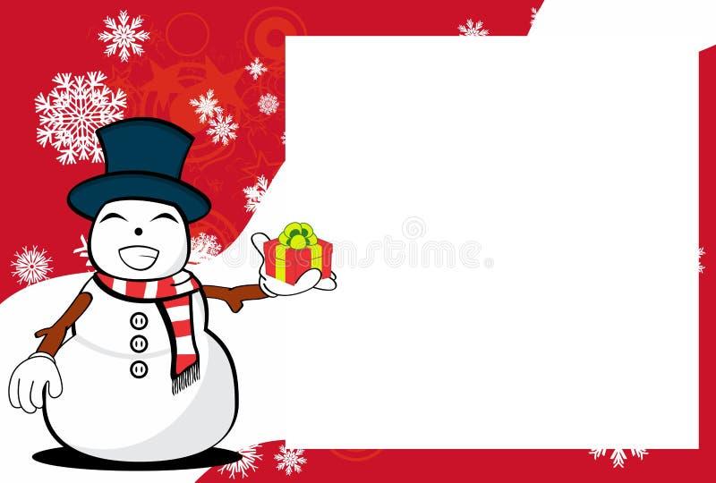 Предпосылка картинной рамки выражения шаржа человека снега подарка Xmas бесплатная иллюстрация