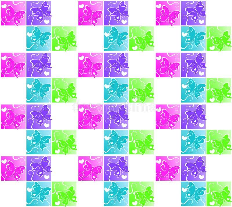 Предпосылка картины бабочки квадратов безшовная иллюстрация вектора
