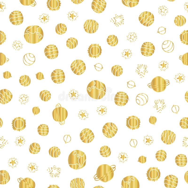 Предпосылка картины вектора планет космоса сусального золота безшовная Элементы золотой руки вычерченные космические, планеты, зв бесплатная иллюстрация