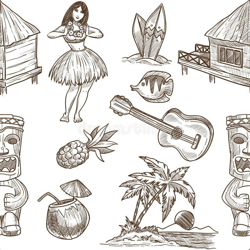 Предпосылка картины вектора эскиза Гаваи безшовная иллюстрация штока