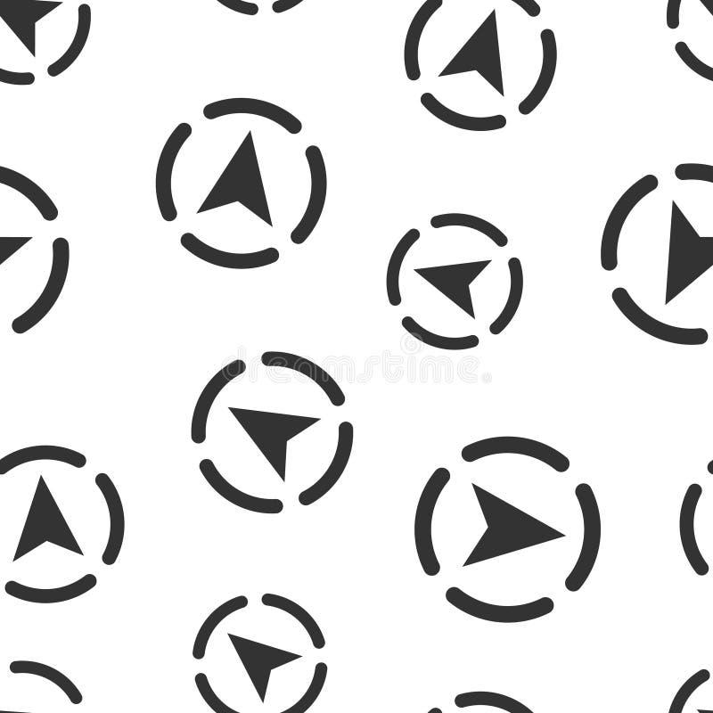 Предпосылка картины глобального значка навигации безшовная Иллюстрация вектора gps компаса на белой изолированной предпосылке Пол бесплатная иллюстрация