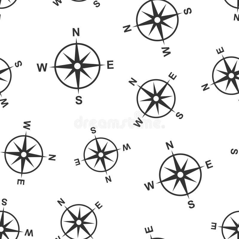 Предпосылка картины глобального значка навигации безшовная Иллюстрация вектора gps компаса на белой изолированной предпосылке Пол иллюстрация вектора