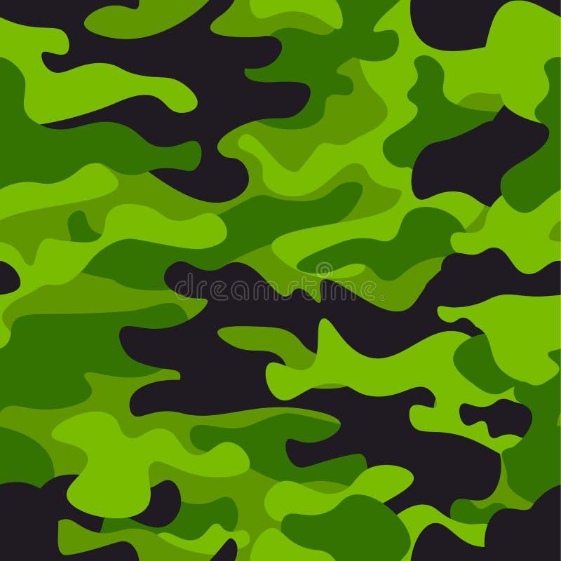 Предпосылка картины зеленого камуфлирования безшовная Печать повторения camo классического стиля одежды маскируя Зеленый цвет, из иллюстрация штока