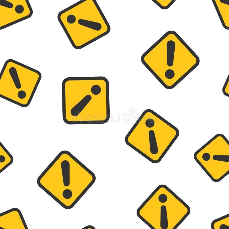 Предпосылка картины значка восклицательного знака безшовная Иллюстрация вектора сигнала тревоги опасности Картина символа риска п иллюстрация вектора