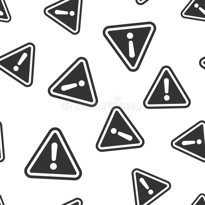 Предпосылка картины значка восклицательного знака безшовная Иллюстрация вектора сигнала тревоги опасности Картина символа риска п бесплатная иллюстрация