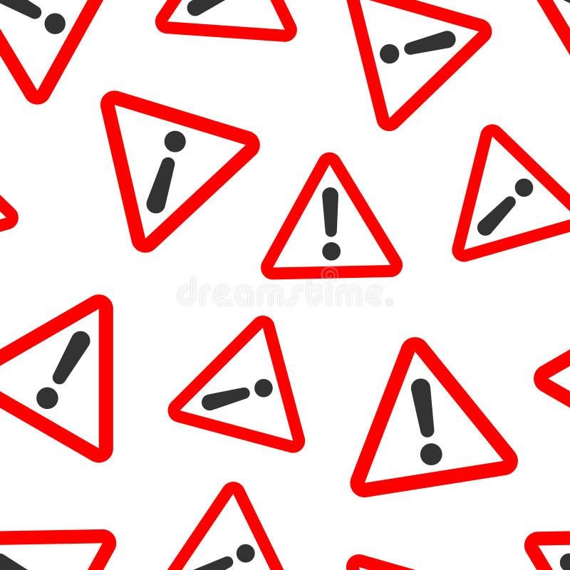 Предпосылка картины значка восклицательного знака безшовная Иллюстрация вектора сигнала тревоги опасности на белой изолированной  иллюстрация вектора