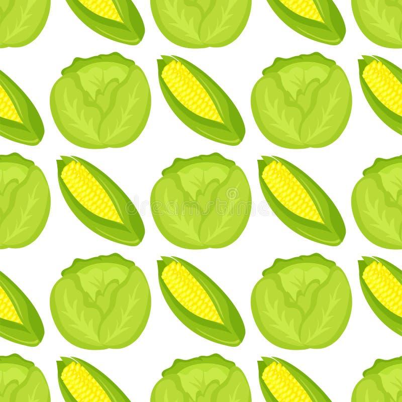 Предпосылка картины капусты безшовная для дизайна еды жать иллюстрацию вектора обоев витамина лета сада бесплатная иллюстрация