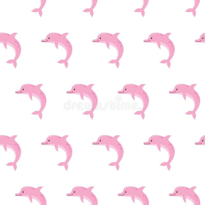 Предпосылка картины милых дельфинов пинка безшовная, печать лета для ткани и дизайн карты иллюстрация вектора