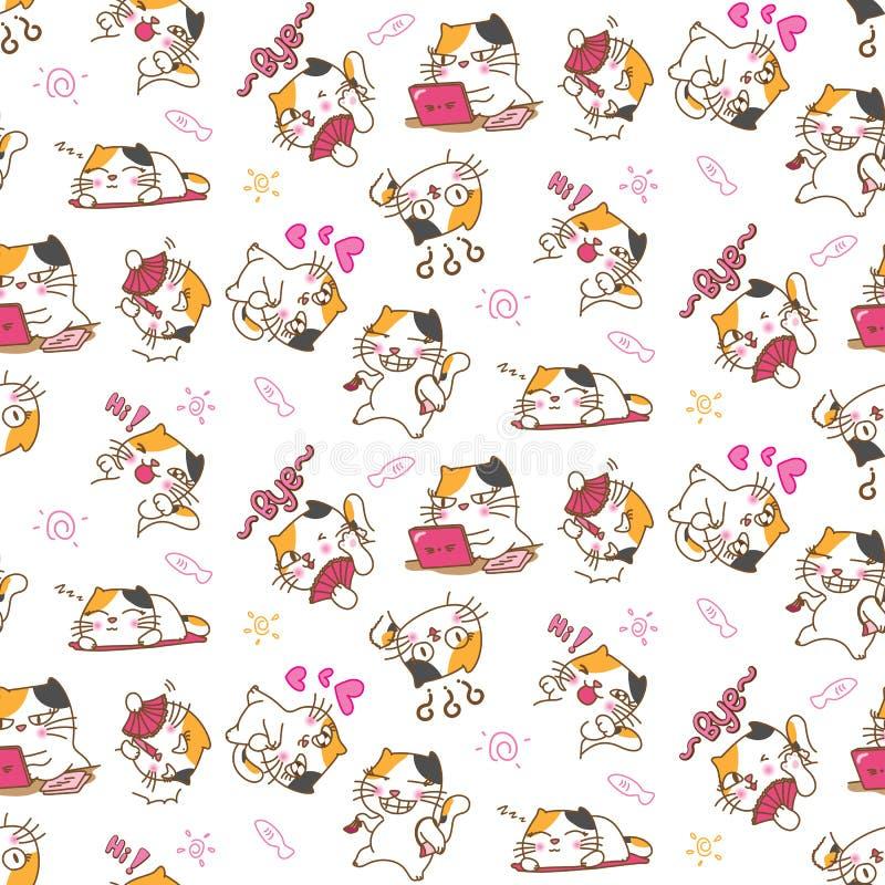 Предпосылка картины милых котов безшовная бесплатная иллюстрация