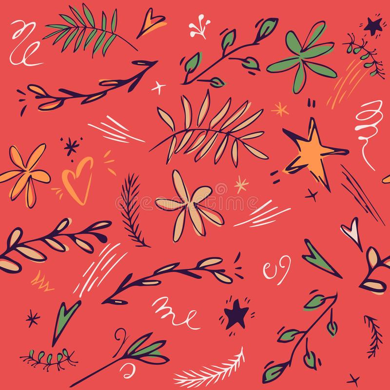 Предпосылка картины младенца безшовная с милой звездой, листьями, цветком, doodle играет главные роли иллюстрация doodle нарисова иллюстрация штока