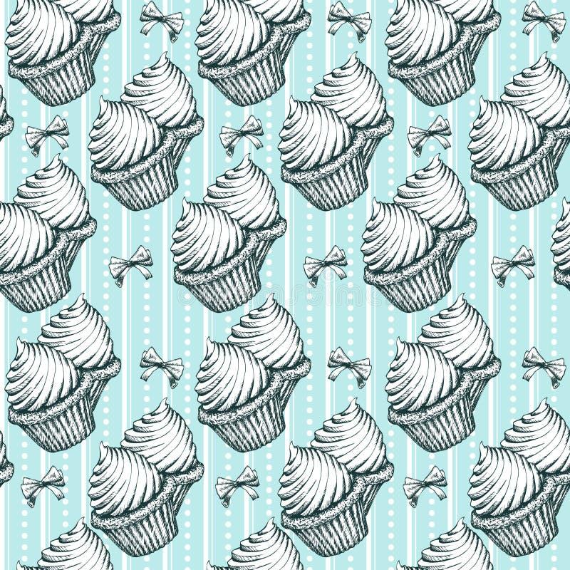 Предпосылка картины пирожных безшовная Год сбора винограда делает эскиз к иллюстрации вектора иллюстрация штока
