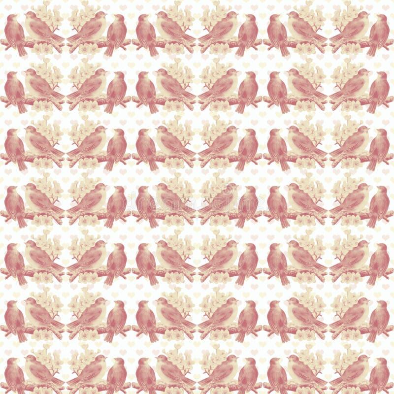 Предпосылка картины птиц влюбленности год сбора винограда затрапезная розовая стоковые изображения