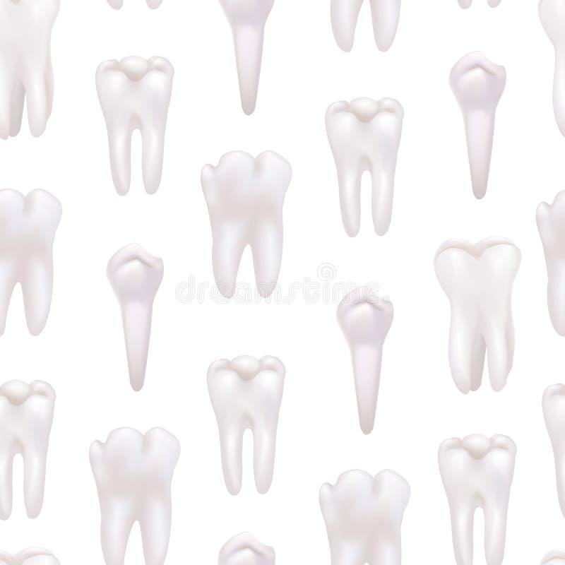 Предпосылка картины реалистических детальных белых здоровых зубов 3d безшовная вектор иллюстрация вектора