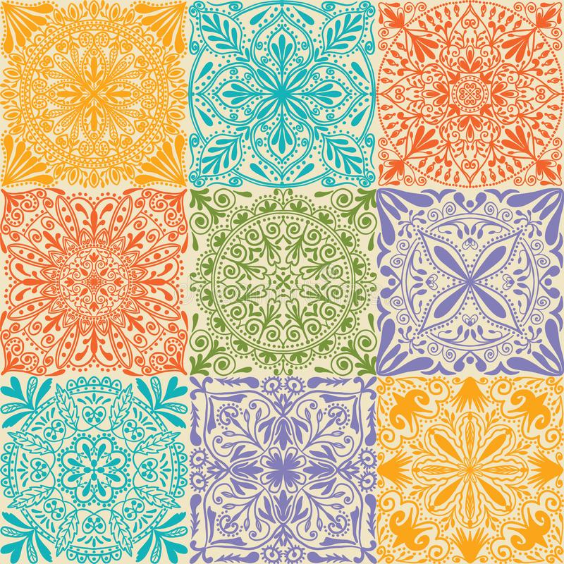 Предпосылка картины ретро симметричных плиток вектора безшовная бесплатная иллюстрация