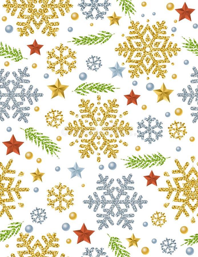 Предпосылка картины рождества безшовная с glitt золота и серебра иллюстрация штока