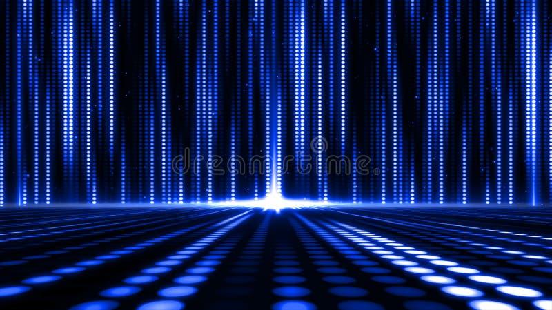 Предпосылка картины светлых точек движения цифров абстрактная для дизайна этапа иллюстрация вектора