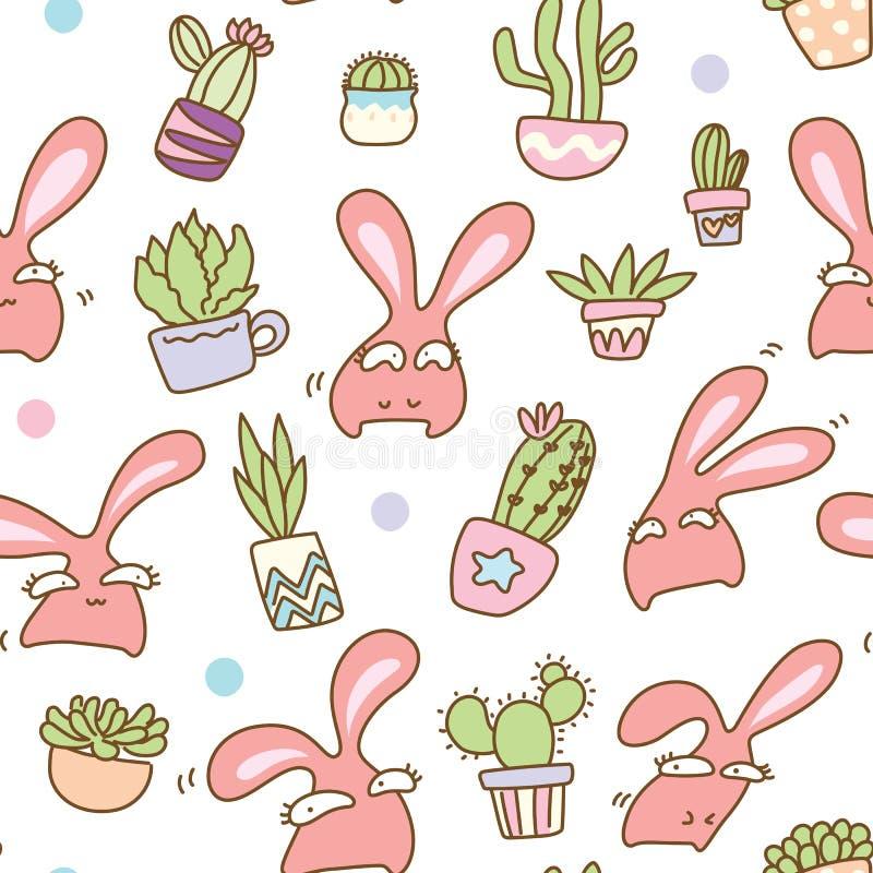 Предпосылка картины смешного кролика безшовная иллюстрация вектора