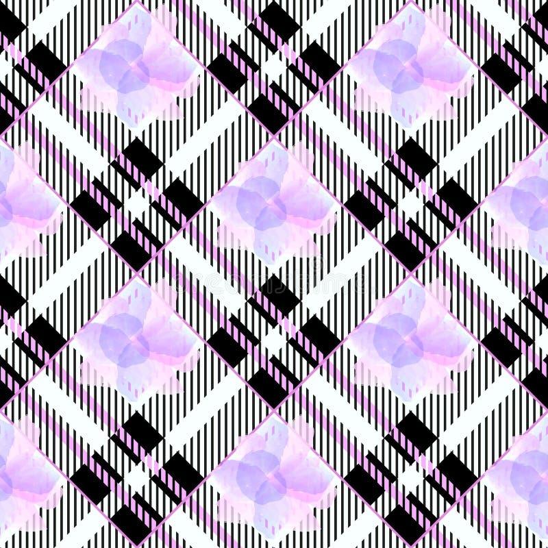 Предпосылка картины тартана безшовная Ультрафиолетов, розовая, белая шотландка, картины рубашки фланели тартана Ультрамодный вект иллюстрация штока