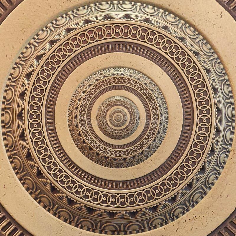 Предпосылка картины фрактали бронзового медного геометрического абстрактного орнамента круглая Предпосылка влияния картины круга  стоковая фотография
