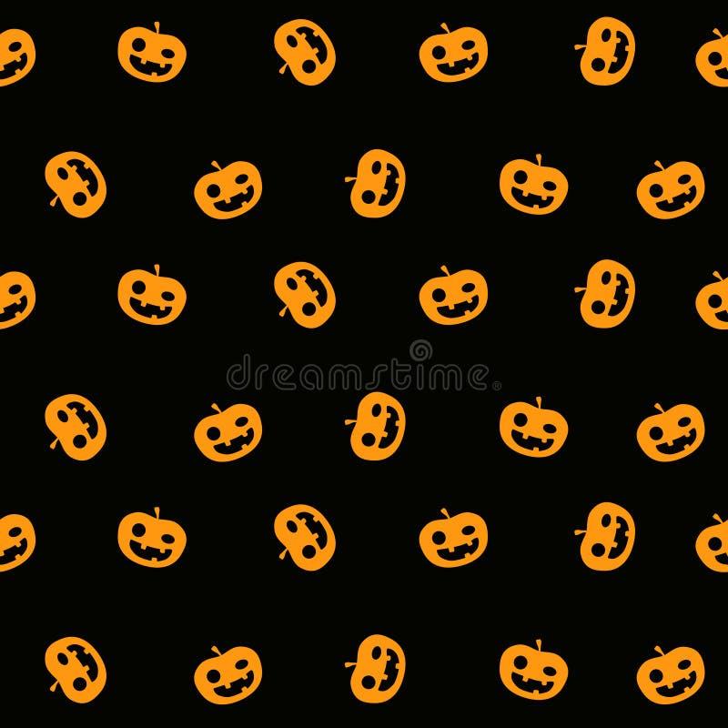 Предпосылка картины хеллоуина безшовная с просто милой усмехаясь стороной тыквы на черном цвете бесплатная иллюстрация