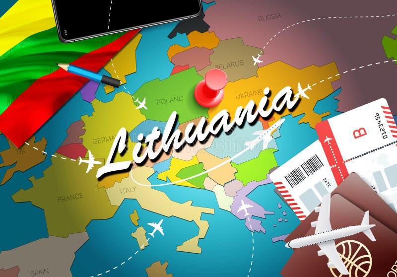 Предпосылка карты концепции перемещения Литвы с самолетами, билетами Перемещение Литвы посещения и концепция назначения туризма Л иллюстрация штока