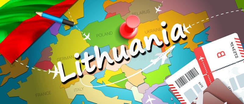 Предпосылка карты концепции перемещения Литвы с самолетами, билетами Перемещение Литвы посещения и концепция назначения туризма Л иллюстрация вектора