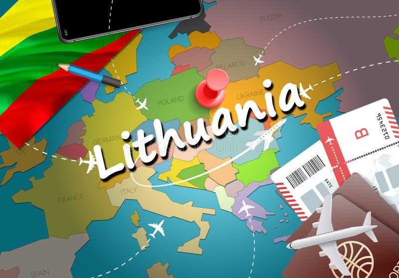 Предпосылка карты концепции перемещения Литвы с самолетами, билетами VI иллюстрация штока